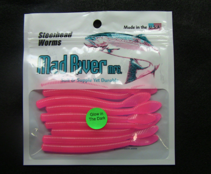 """Mad River Steelhead Worms 4""""- Unscented - Glo Pink"""