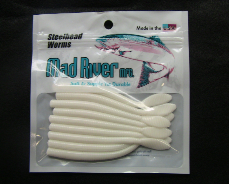 """Mad River Steelhead Worms 4""""- Unscented - Pearl Skein"""
